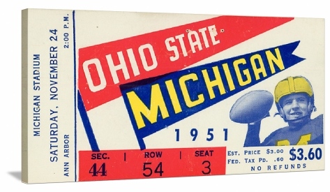 1951%20Michigan%20vs.%20Ohio%20State%20football%20ticket%20on%20canvas(1)